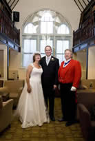 Toastmaster Richard Palmer with bride and bridegroom at the Ivory Rooms, Billericay, Essex