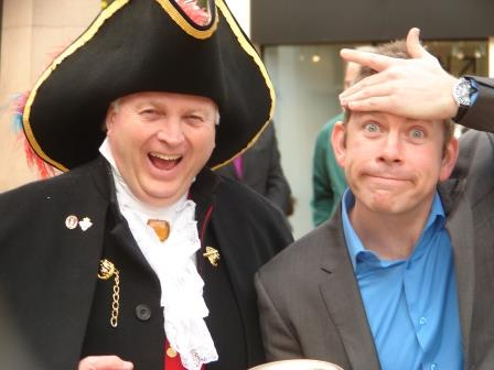 Chelmsford City Crier Richard Palmer with Lee Evans look alike Lee Doran from inspired