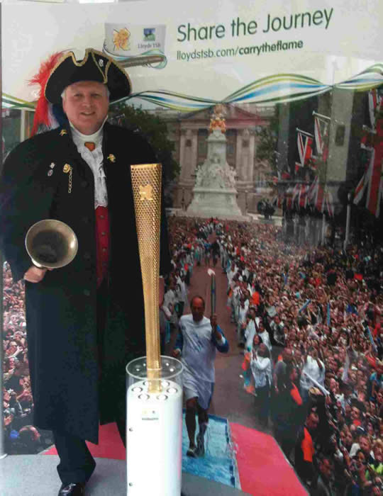 Chelmsford Town Crier and Toastmaster with the Olympic Torch Tour