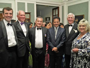 The Ambassador of Nepal, Dr. Suresh Chandra Chalise with Tina Knight and Special Guests From left, Lt Col Simon Bell, TTTA chairman Moray Bayliss, hon president Gau Gurung, Nepalese Ambassador HE Dr Suresh Chandra Chalise, Ryan Airways co-founder Kell Ryan and TTTA president Tina Knight