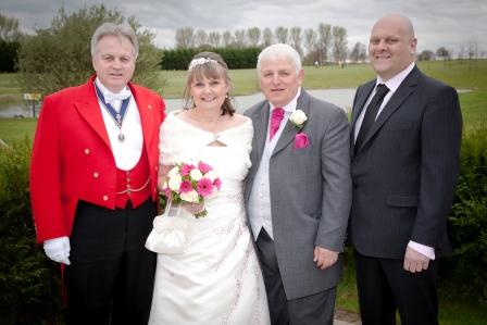 Essex wedding toastmaster with Bride Groom and toastmaster Tony, Bride Elaine and fellow toastmaster from Kent Jim. All members of the English Toastmasters Association