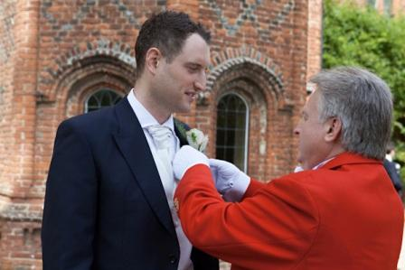 Wedding Toastmaster in Essex Richard Palmer with Bride Groom Nick