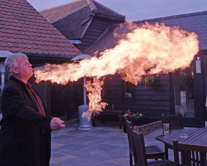 Fire breathing display at an Essex Wedding by Toastmaster Richard Palmer