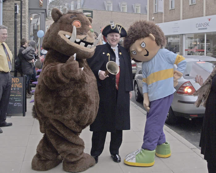 The Gruffalo, Chelmsford Town Crier and Horrid Henry ready for the opening of Just Imagine, Children's Book Shop and Story Centre