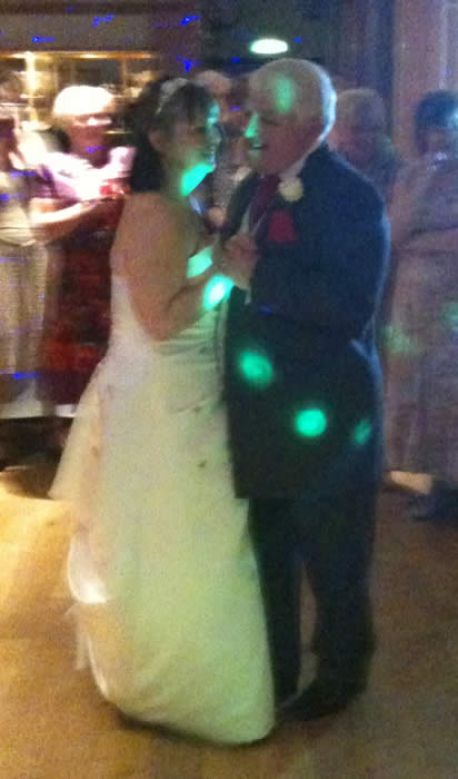 Kent wedding toastmaster Tony Pule having his first dance with Elaine. Toastmaster for the day was Essex Toastmaster Richard Palmer