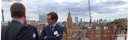 london Rooftops from The Beaumont Hotel, Mayfair. From left to right Andrew Heaver, Managing Director, Chorus Group and Peter Vernon, Chief Executive, Grosvenor Britain and Ireland
