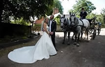 Bride and bridegroom pose for the Essex wedding photographer in front of a horse drawn carriage