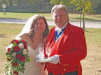 Fantastic bride, Louise at Vaulty Manor with Essex toastmaster Richard Palmer
