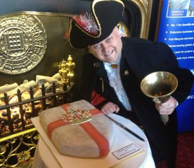 Good friend Jim Cattermole working as the Town Crier at the The House of Commons. Speaker's State Apartments with the Celebration Cake