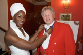 Parklands Wedding Toastmaster Richard Palmer with Stella adjusting my bow tie