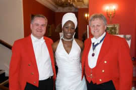 Toastmasters Richard Palmer and Andrew Morgan with Stella at Parklands after her wedding at Newport Church, Essex